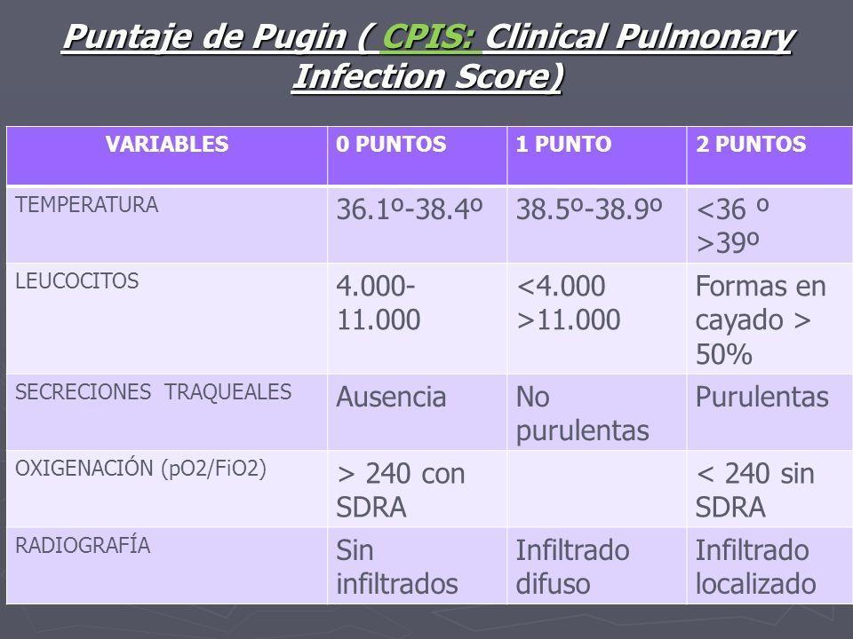 Puntaje de Pugin ( CPIS: Clinical Pulmonary Infection Score)