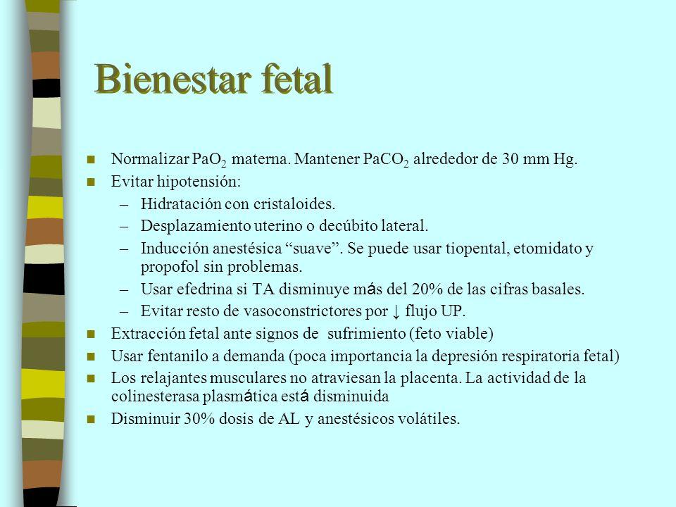 Bienestar fetal Normalizar PaO2 materna. Mantener PaCO2 alrededor de 30 mm Hg. Evitar hipotensión: