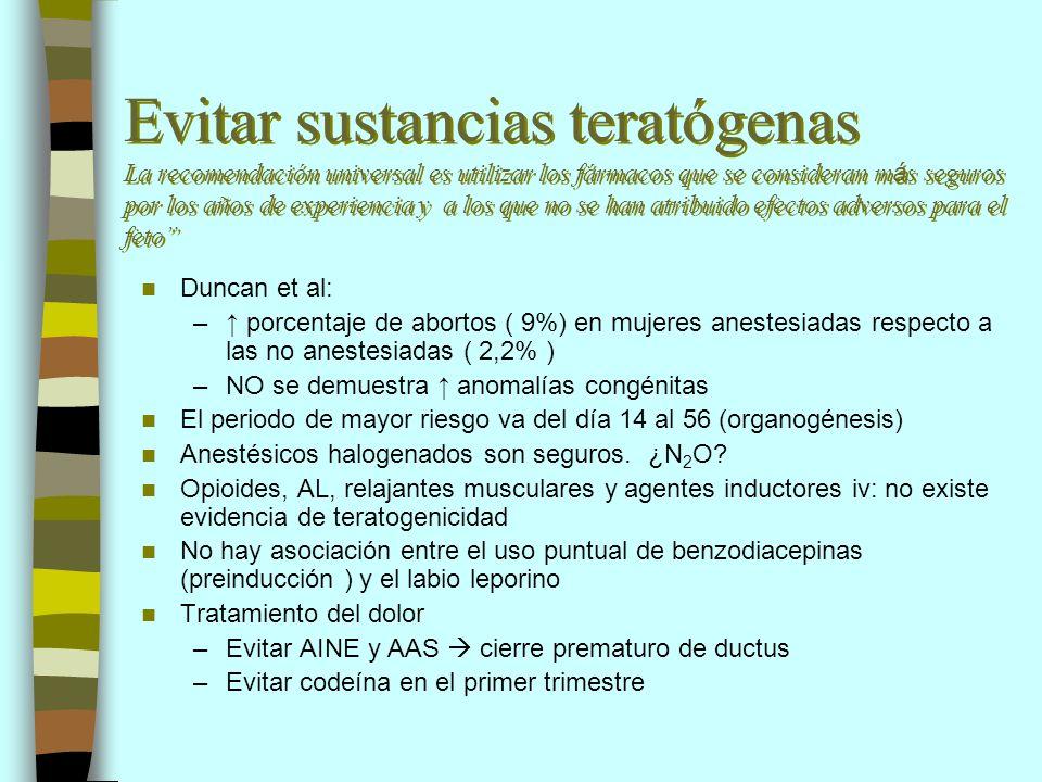 Evitar sustancias teratógenas La recomendación universal es utilizar los fármacos que se consideran más seguros por los años de experiencia y a los que no se han atribuido efectos adversos para el feto