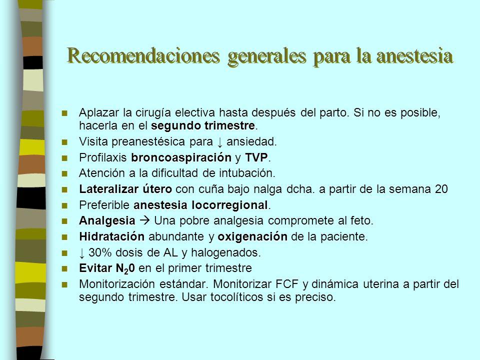 Recomendaciones generales para la anestesia