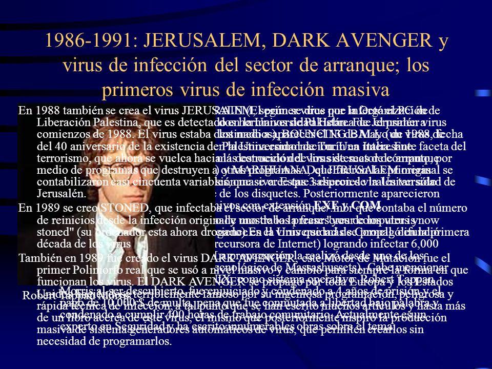 1986-1991: JERUSALEM, DARK AVENGER y virus de infección del sector de arranque; los primeros virus de infección masiva