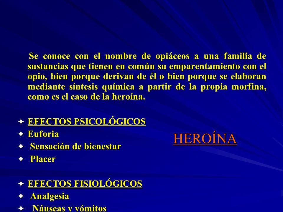 Se conoce con el nombre de opiáceos a una familia de sustancias que tienen en común su emparentamiento con el opio, bien porque derivan de él o bien porque se elaboran mediante síntesis química a partir de la propia morfina, como es el caso de la heroína.