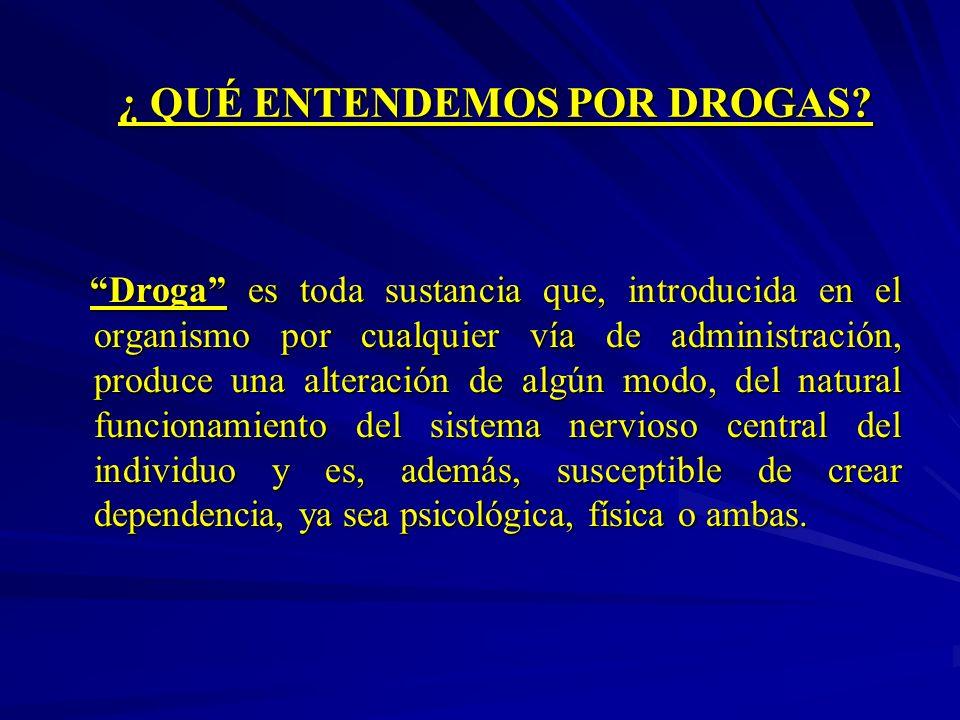 ¿ QUÉ ENTENDEMOS POR DROGAS