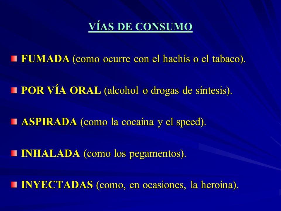 VÍAS DE CONSUMOFUMADA (como ocurre con el hachís o el tabaco). POR VÍA ORAL (alcohol o drogas de síntesis).