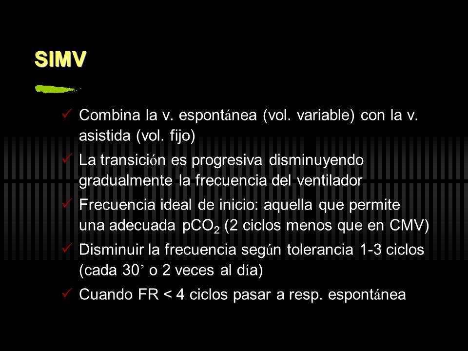SIMV Combina la v. espontánea (vol. variable) con la v. asistida (vol. fijo)
