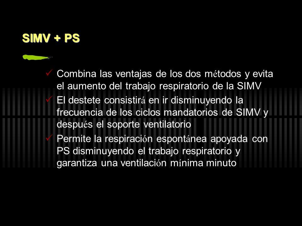 SIMV + PS Combina las ventajas de los dos métodos y evita el aumento del trabajo respiratorio de la SIMV.
