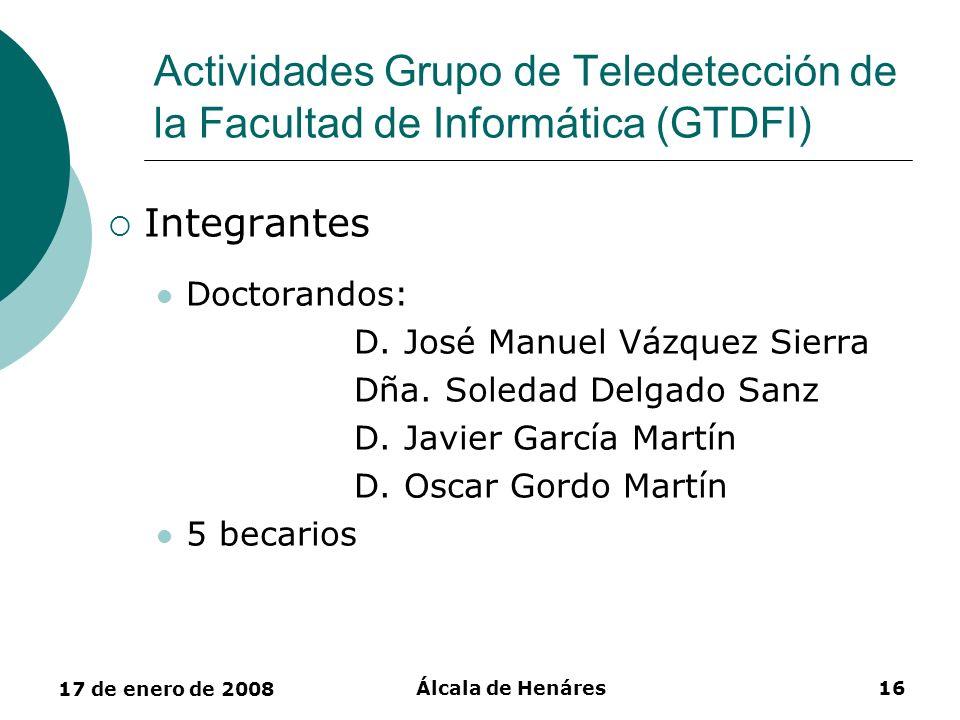 Actividades Grupo de Teledetección de la Facultad de Informática (GTDFI)