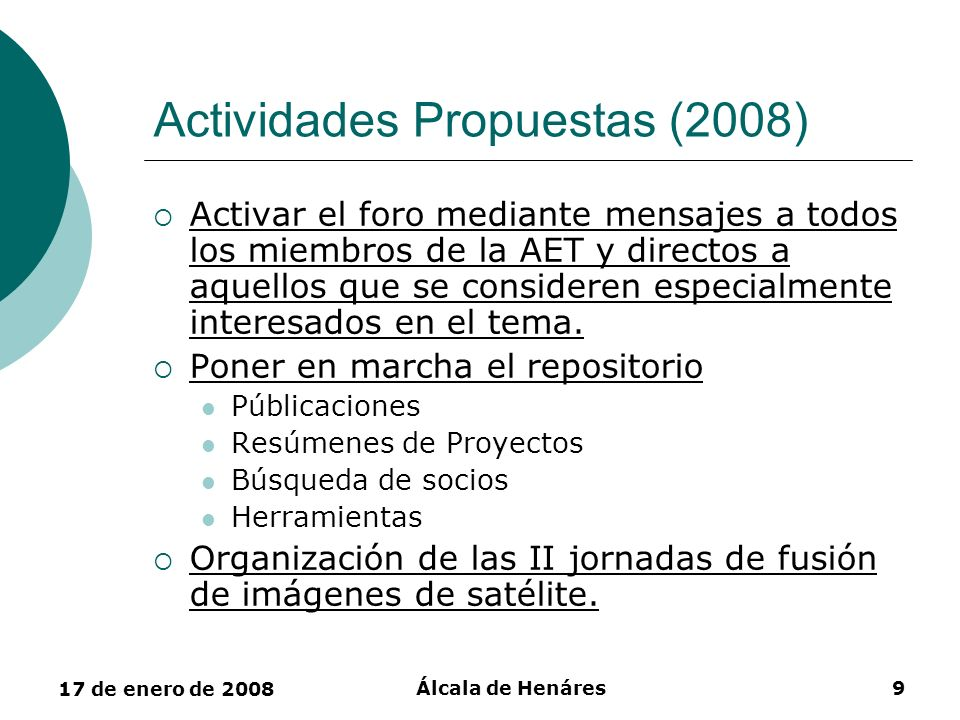 Actividades Propuestas (2008)