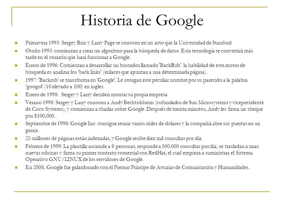 Historia de GooglePrimavera 1995: Sergey Brin y Larry Page se conocen en un acto que la Universidad de Stanford.