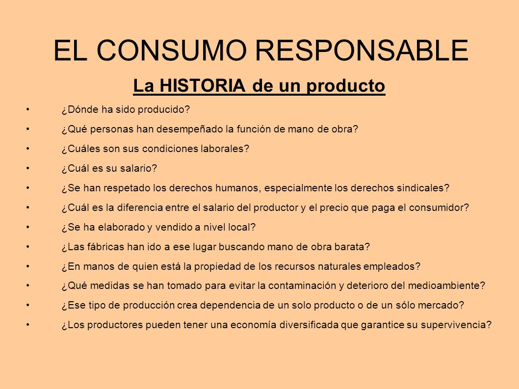 EL CONSUMO RESPONSABLE