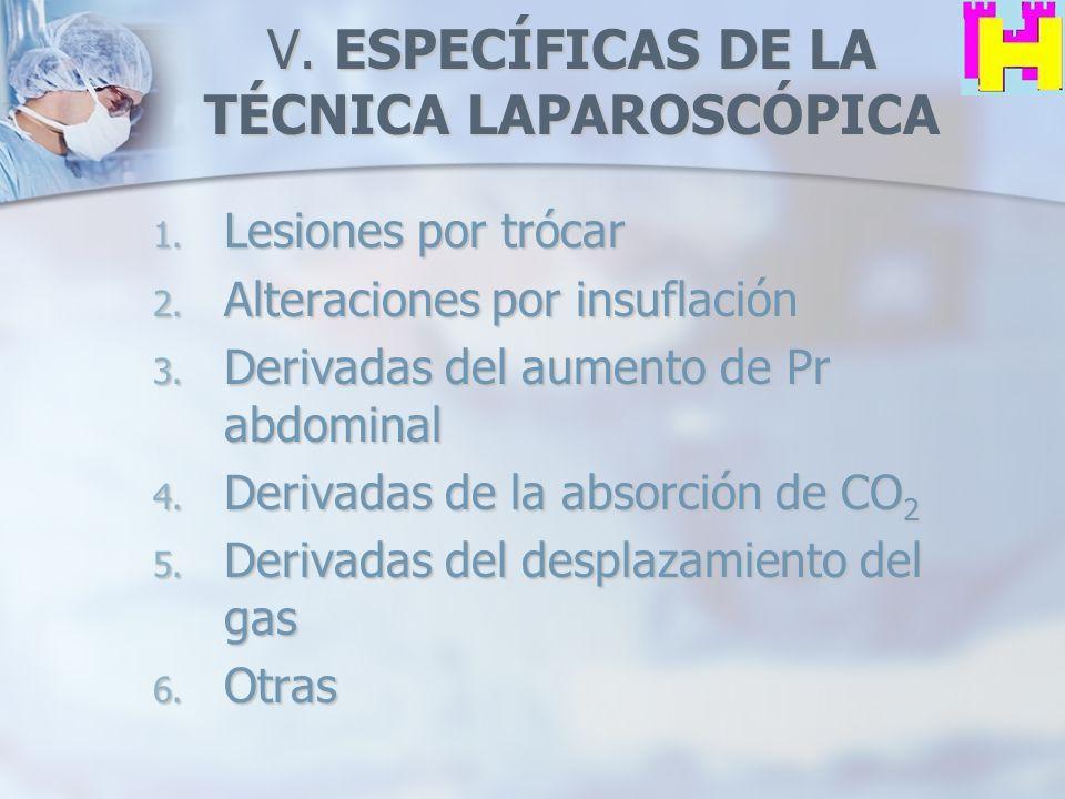 V. ESPECÍFICAS DE LA TÉCNICA LAPAROSCÓPICA