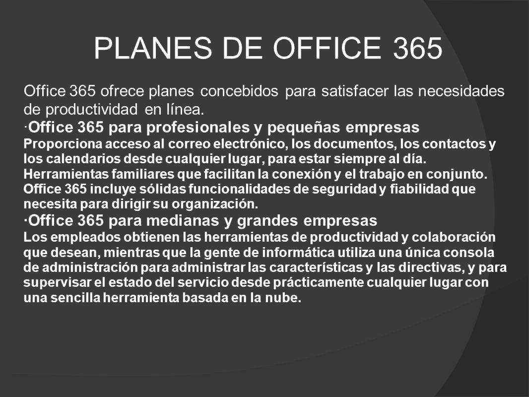 PLANES DE OFFICE 365 Office 365 ofrece planes concebidos para satisfacer las necesidades de productividad en línea.