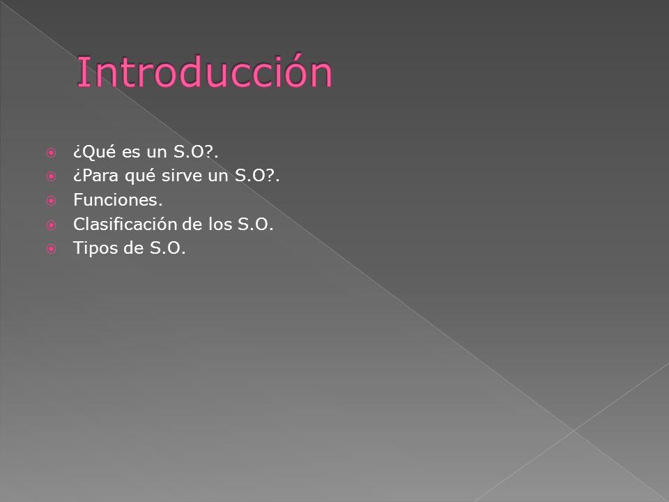 Introducción ¿Qué es un S.O . ¿Para qué sirve un S.O . Funciones.