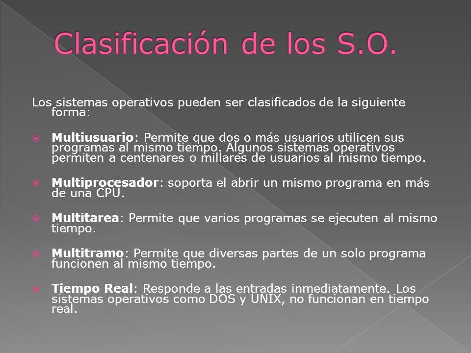 Clasificación de los S.O.