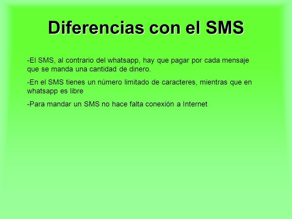 Diferencias con el SMS El SMS, al contrario del whatsapp, hay que pagar por cada mensaje que se manda una cantidad de dinero.