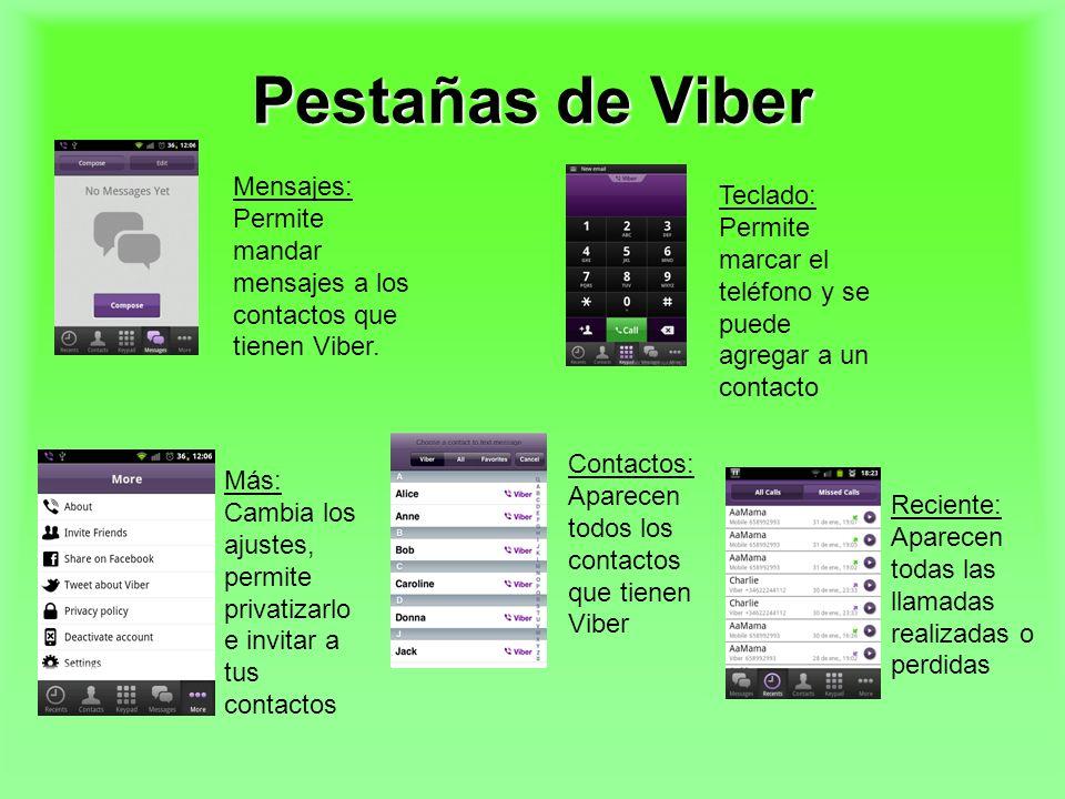 Pestañas de Viber Mensajes: Permite mandar mensajes a los contactos que tienen Viber.