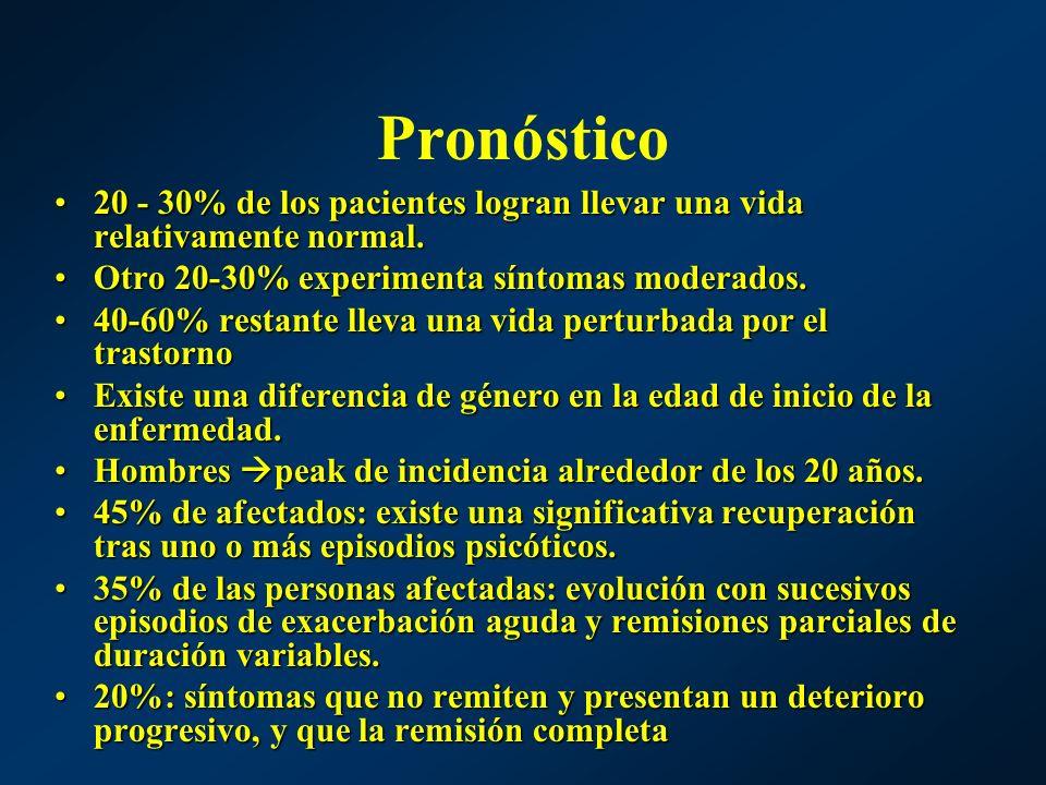 Pronóstico 20 - 30% de los pacientes logran llevar una vida relativamente normal. Otro 20-30% experimenta síntomas moderados.