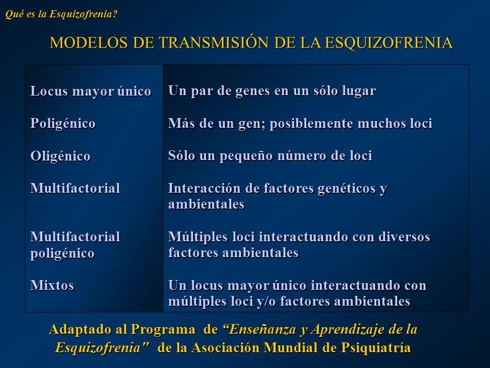 MODELOS DE TRANSMISIÓN DE LA ESQUIZOFRENIA