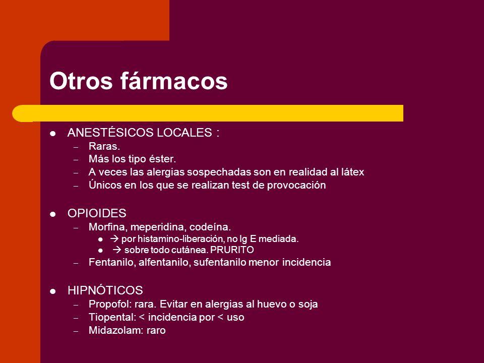 Otros fármacos ANESTÉSICOS LOCALES : OPIOIDES HIPNÓTICOS Raras.