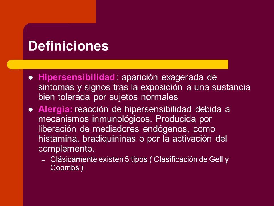 Definiciones Hipersensibilidad : aparición exagerada de sintomas y signos tras la exposición a una sustancia bien tolerada por sujetos normales.