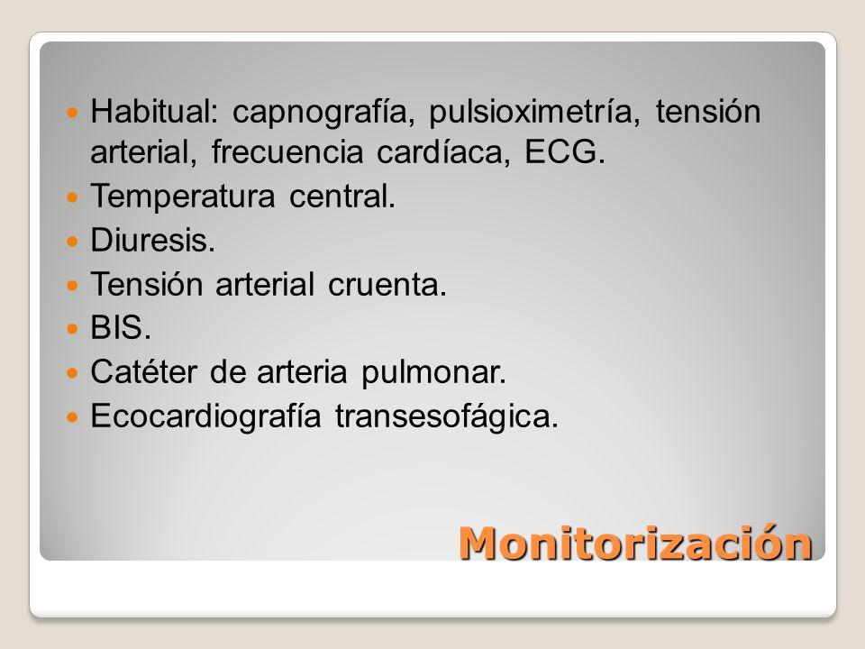 Habitual: capnografía, pulsioximetría, tensión arterial, frecuencia cardíaca, ECG.