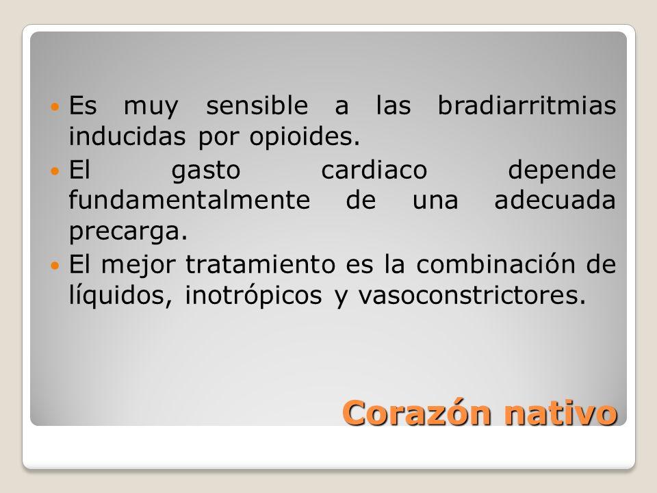 Es muy sensible a las bradiarritmias inducidas por opioides.