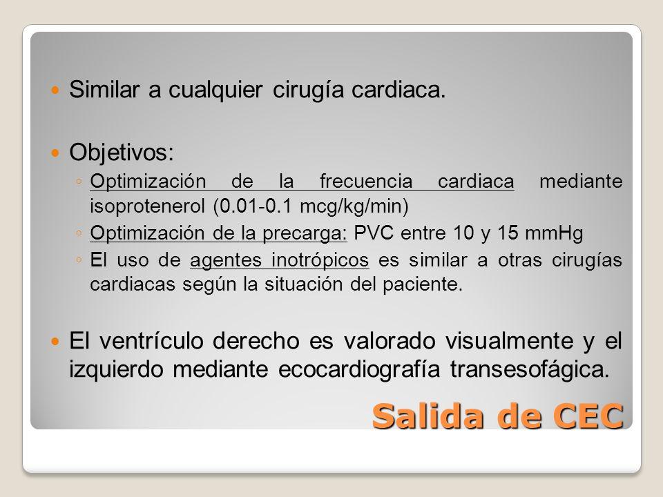 Salida de CEC Similar a cualquier cirugía cardiaca. Objetivos: