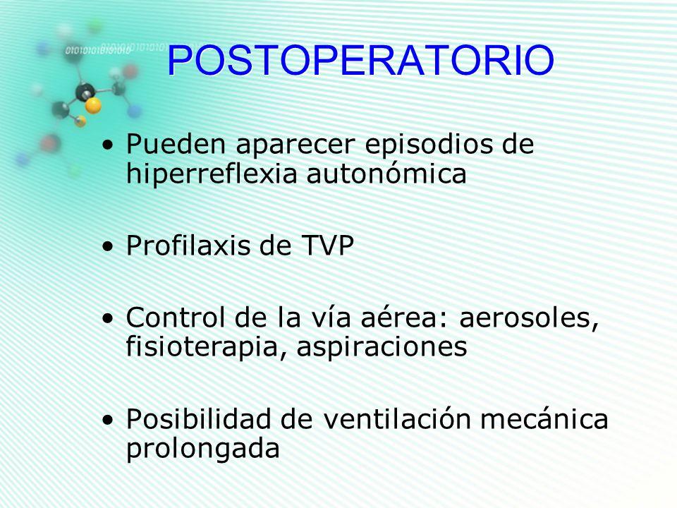 POSTOPERATORIO Pueden aparecer episodios de hiperreflexia autonómica