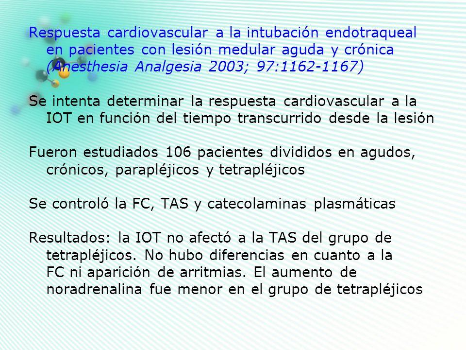 Respuesta cardiovascular a la intubación endotraqueal