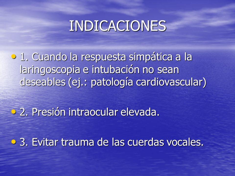 INDICACIONES 1. Cuando la respuesta simpática a la laringoscopia e intubación no sean deseables (ej.: patología cardiovascular)