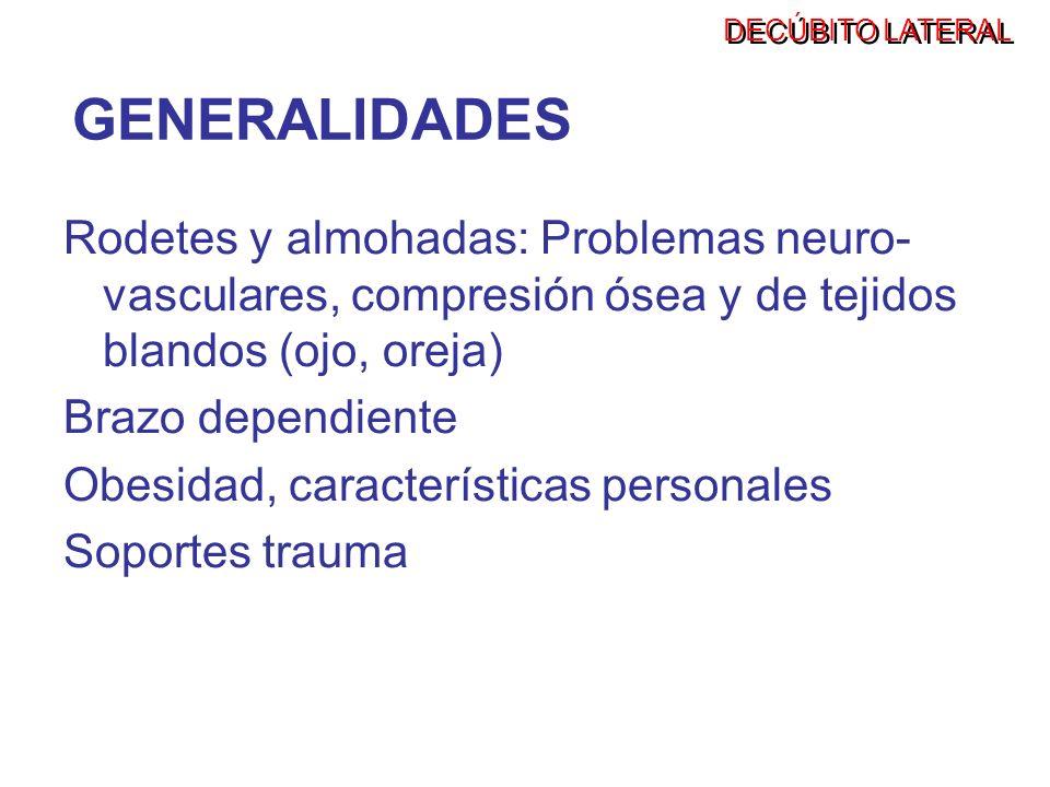 DECÚBITO LATERALGENERALIDADES. Rodetes y almohadas: Problemas neuro-vasculares, compresión ósea y de tejidos blandos (ojo, oreja)