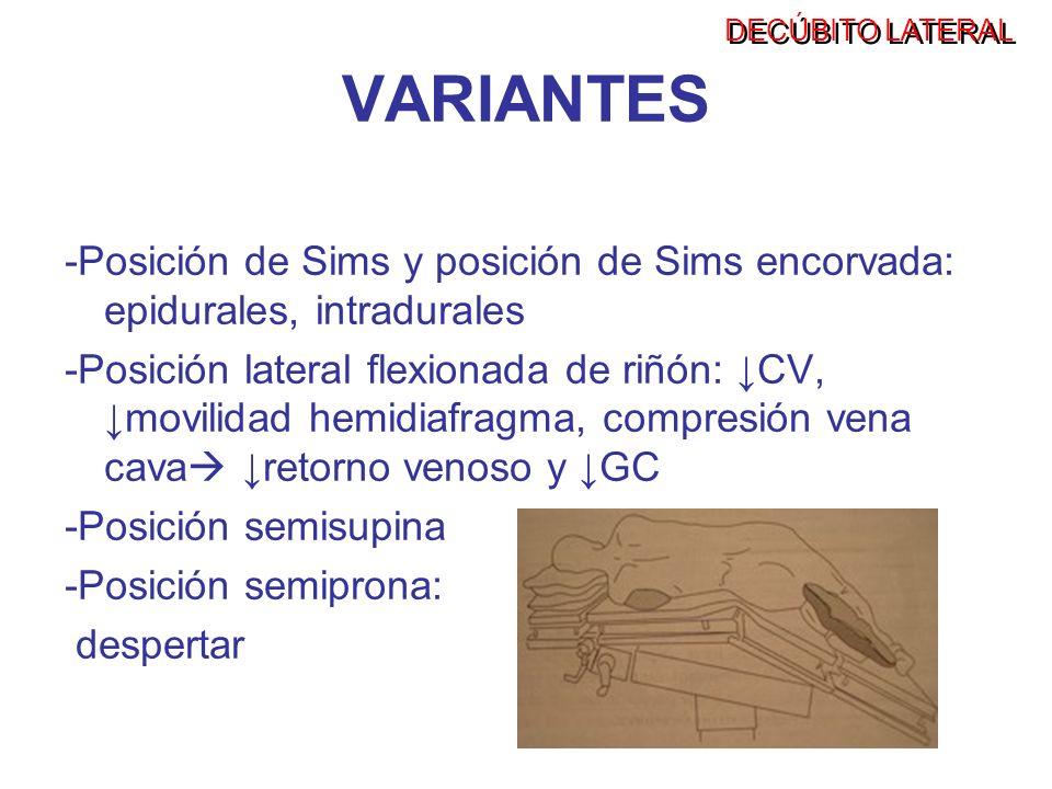 DECÚBITO LATERALVARIANTES. -Posición de Sims y posición de Sims encorvada: epidurales, intradurales.