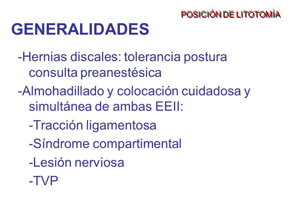 POSICIÓN DE LITOTOMÍAGENERALIDADES. -Hernias discales: tolerancia postura consulta preanestésica.