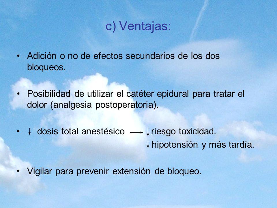 c) Ventajas: Adición o no de efectos secundarios de los dos bloqueos.
