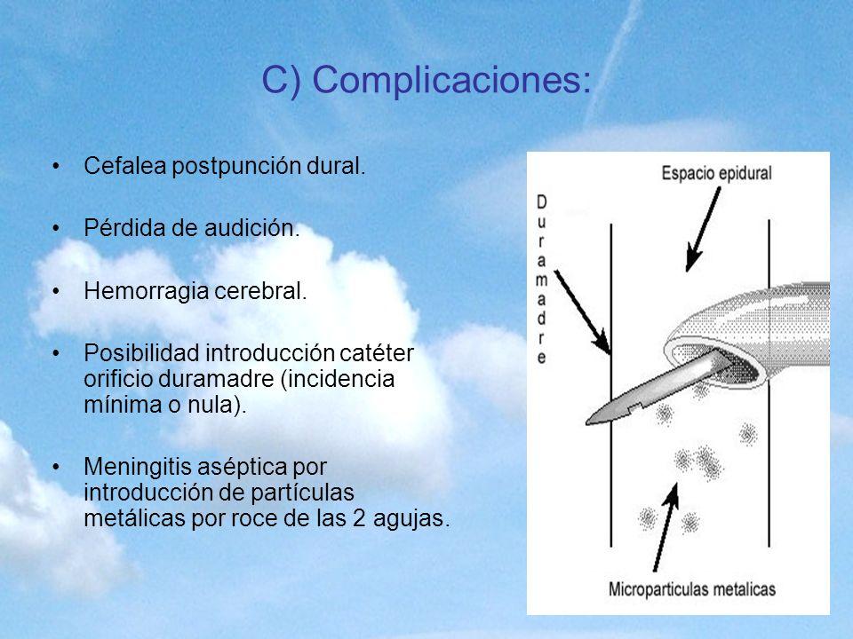 C) Complicaciones: Cefalea postpunción dural. Pérdida de audición.
