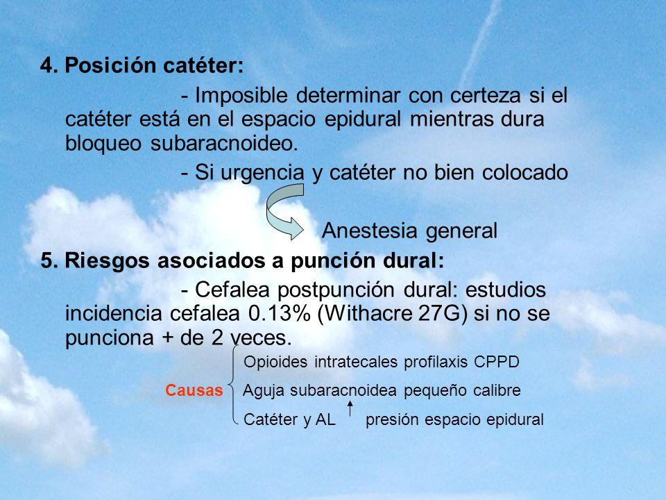 - Si urgencia y catéter no bien colocado Anestesia general