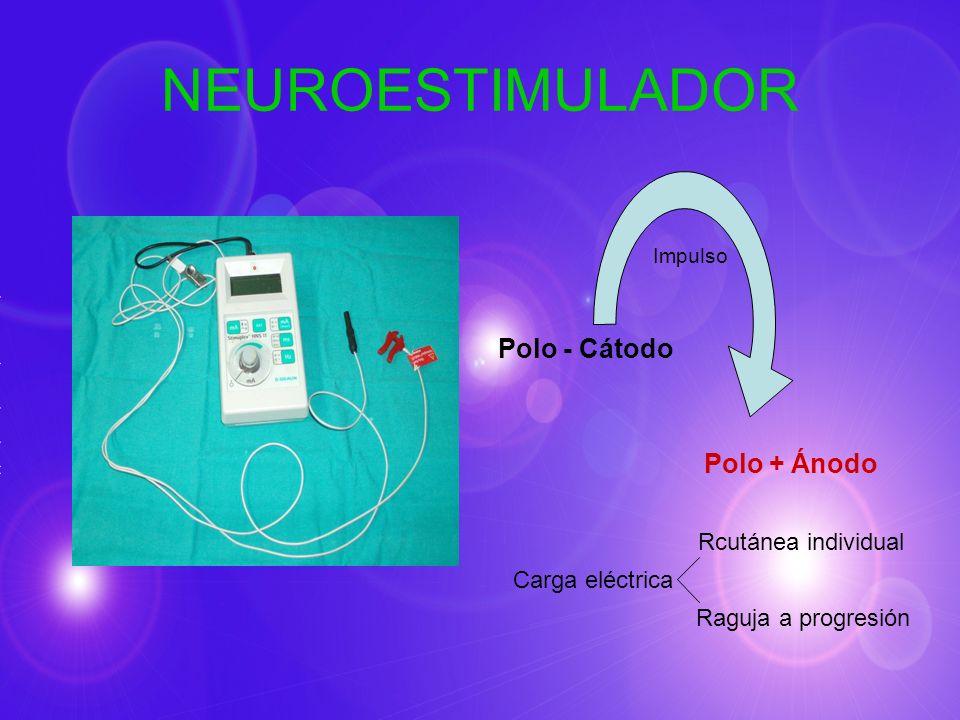 NEUROESTIMULADOR Impulso Polo - Cátodo Polo + Ánodo Carga eléctrica