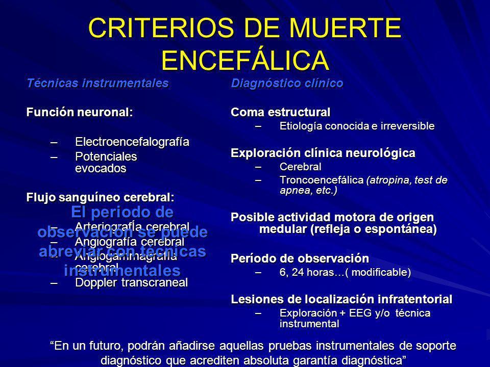 CRITERIOS DE MUERTE ENCEFÁLICA