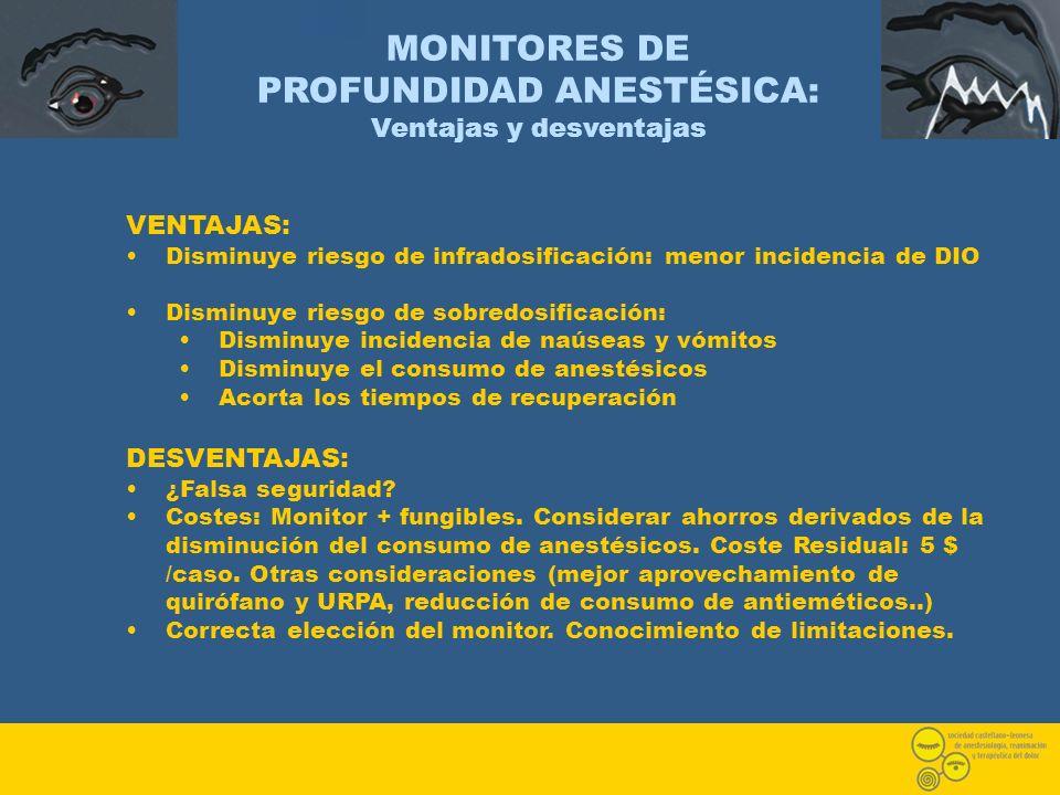 MONITORES DE PROFUNDIDAD ANESTÉSICA: Ventajas y desventajas