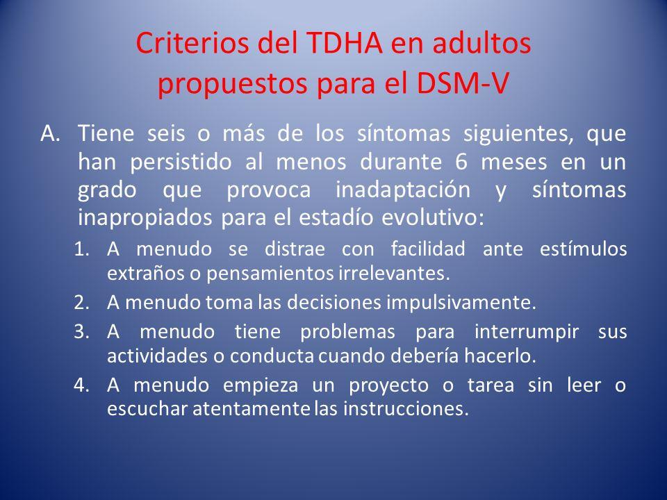 Criterios del TDHA en adultos propuestos para el DSM-V