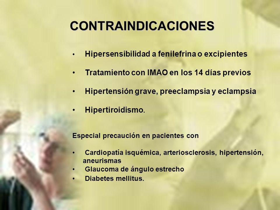 CONTRAINDICACIONES Tratamiento con IMAO en los 14 días previos