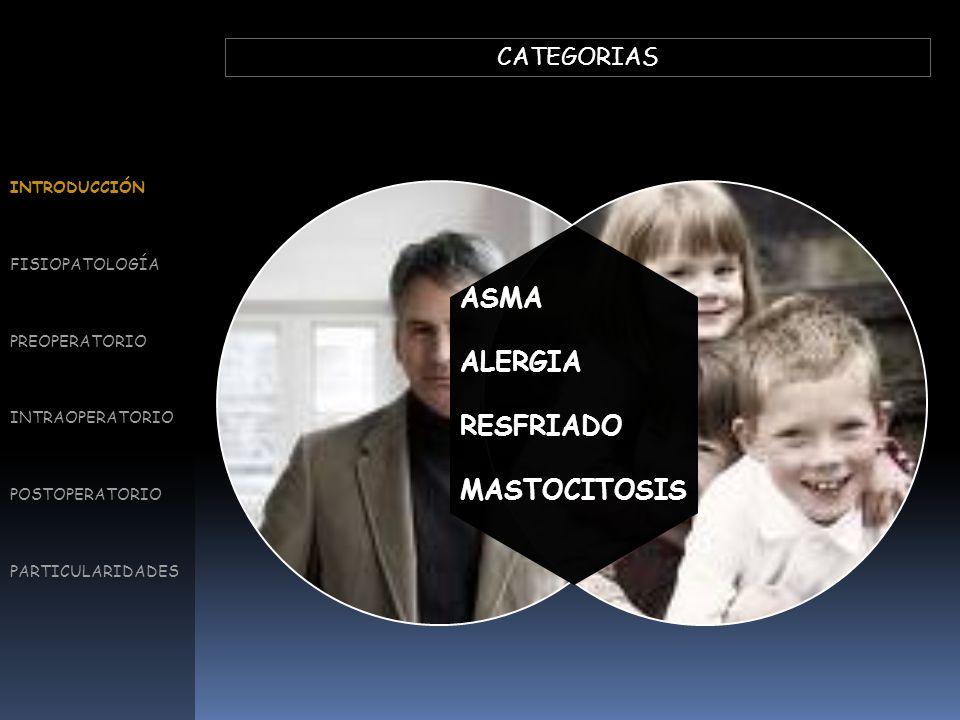 ASMA ALERGIA RESFRIADO MASTOCITOSIS CATEGORIAS INTRODUCCIÓN