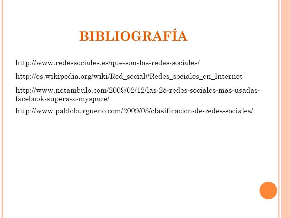 BIBLIOGRAFÍA http://www.redessociales.es/que-son-las-redes-sociales/