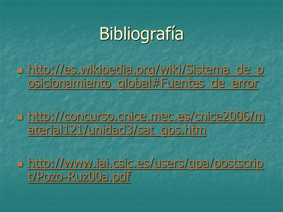 Bibliografía http://es.wikipedia.org/wiki/Sistema_de_posicionamiento_global#Fuentes_de_error.