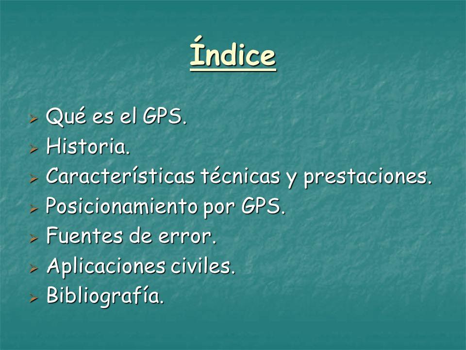 Índice Qué es el GPS. Historia.