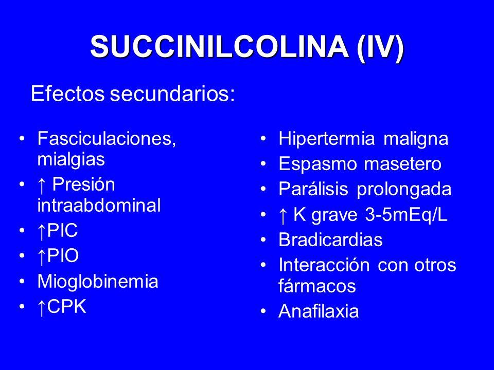 SUCCINILCOLINA (IV) Efectos secundarios: Fasciculaciones, mialgias