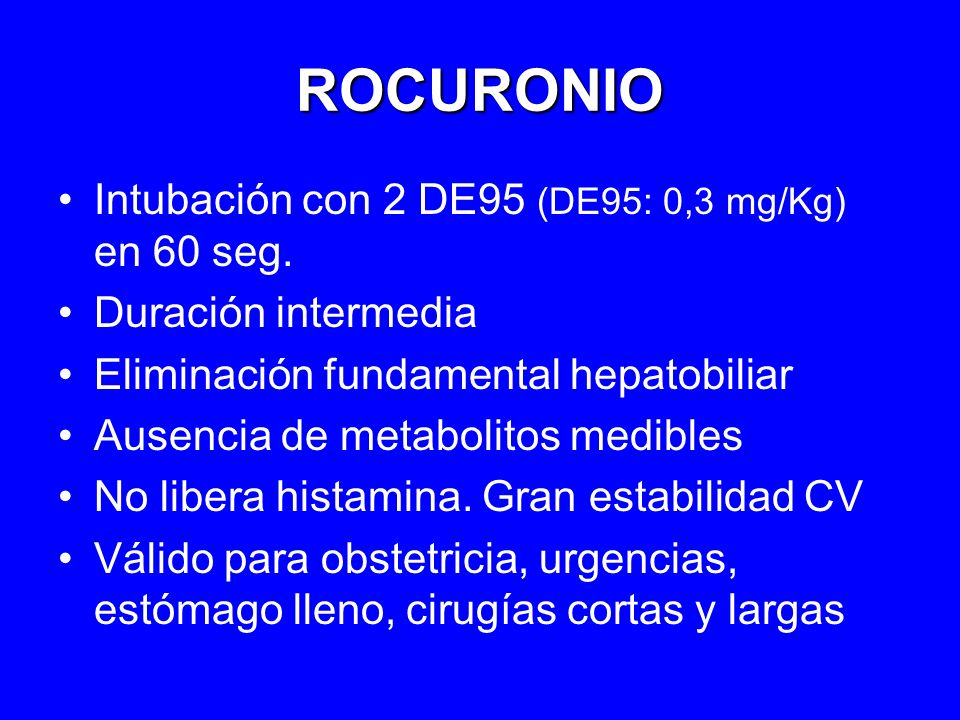 ROCURONIO Intubación con 2 DE95 (DE95: 0,3 mg/Kg) en 60 seg.