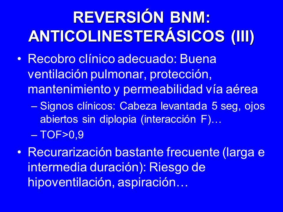 REVERSIÓN BNM: ANTICOLINESTERÁSICOS (III)