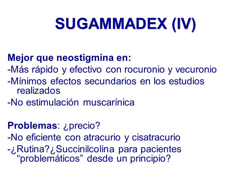 SUGAMMADEX (IV) Mejor que neostigmina en: