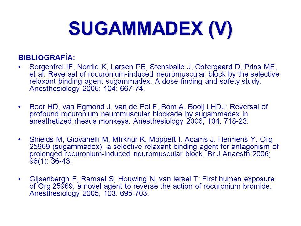 SUGAMMADEX (V) BIBLIOGRAFÍA:
